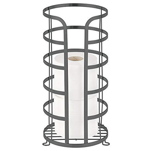 mDesign freistehender Ersatzrollenhalter – Toilettenpapierständer aus Metall für 3 Ersatzrollen – Klopapierhalter ohne Bohren fürs Bad oder Gäste-WC – dunkelgrau