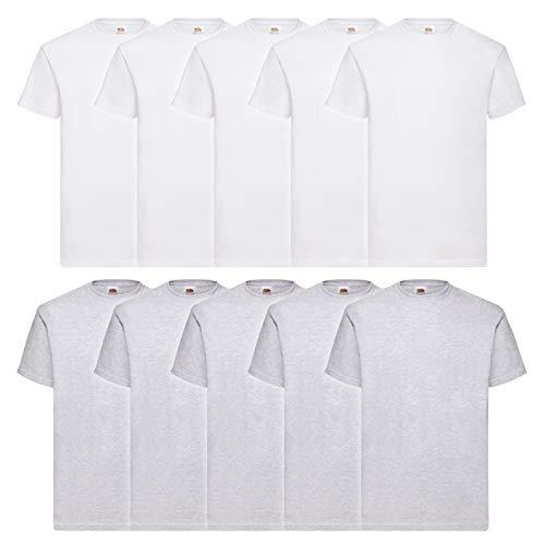 10 Fruit of the loom T Shirts Valueweight S M L XL XXL 3XL 4XL 5XL Übergröße Diverse Farbsets auswählbar (L, 5Weiß/5Grau)