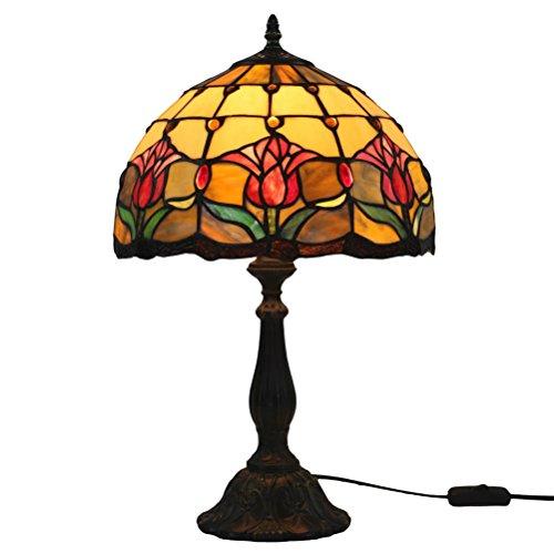 Odziezet Lámpara de Mesa 12 Pulgadas Estilo de Tiffany Europea Vintage Pastoral Tulipán Vidrio Retro Lámpara de Mesita Dormitorio