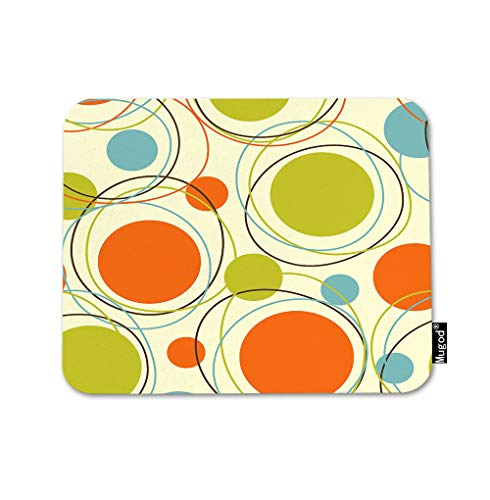 Mugod Geometric Pattern Mouse Pad Retro Abstract Orbits Orange Green Blue Brown Gaming Mouse Mat Non-Slip Rubber Base Mousepad for Computer Laptop PC Desk Office&Home Working 9.5x7.9 Inch