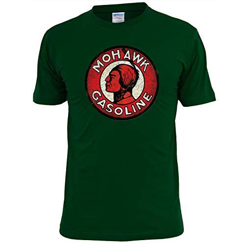 Unique Tees - Camiseta para Hombre con Aceite de Motor Vintage Mohawk Gasoline Verde Verde Oscuro L