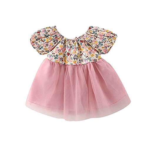 Bebé niña bebé bebé niño niño fiesta con lazo vestido vestido de gasa falda falda falda falda falda vestido manga corta ropa, Rosa., 80 cm