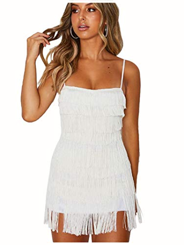 ZAKIA Flapper Dresses 1920s Cocktail Party Fringed Great Gatsby Costume Dress for Women (White, M)