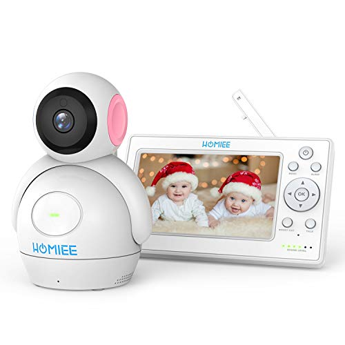 Video Babyphone,HOMIEE 2.0 Babyphone 360°Baby Kamera,5 Zoll LCD Monitor und 300m 2,4GWireless Verbindung, Ton und Temperaturalarm,...