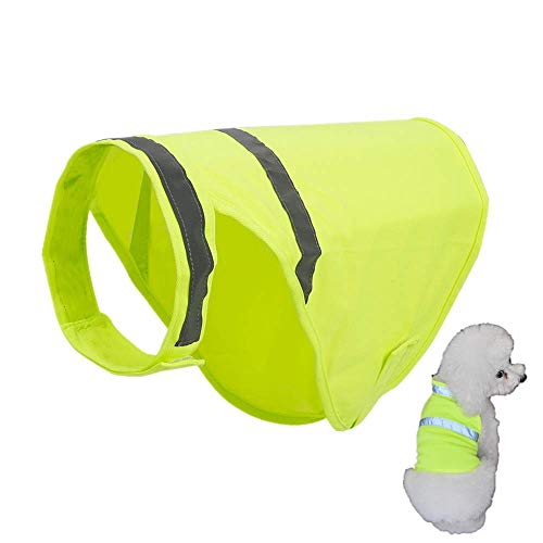 N\C Chaleco reflectante para perros de alta visibilidad Chaleco de seguridad para perros Cinta reflectante M Verde fluorescente 1 unids