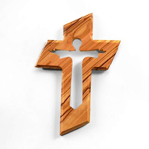 KASSIS Olivenholz Kreuz Kruzifix Wandkreuz mit dem auferstandenen Jesus Christus zum Aufhängen aus Bethlehem zur Firmung, Taufe, Kommunion 13 x 9 cm