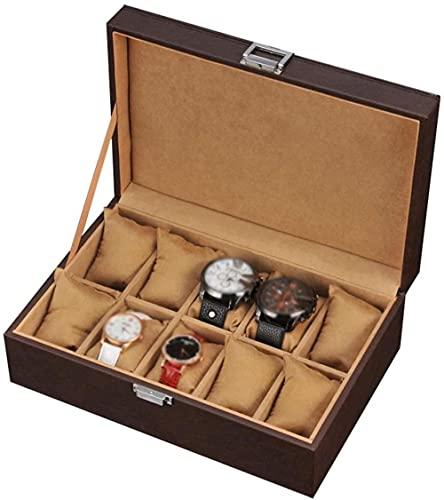10 ranuras caja de reloj de piel sintética relojes de pulsera de almacenamiento de joyas caso de viaje pulsera colección bandeja de metal cierre