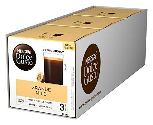 NESCAFÉ Dolce Gusto Grande Mild 48 Kaffeekapseln (100% Arabica Bohnen, Mildes Aroma und feine Crema, Aromaversiegelte Kapseln) 3er Pack (3 x 16 Kapseln)