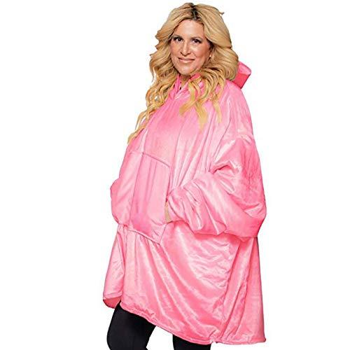 KPII Manta Sudadera con Capucha, Super Soft Warm Sherpa con Bolsillo Frontal Grande Sweatshirt, Talla Unica para Hombre y Mujer,Rosado,One Size