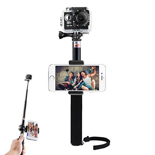 Selfie Bastone Portatile Monopiede VicTsing VideoCamera Supporto Regolabile Telescopica Pole Monopiede per Gopro Hero 5 4, Eroe + LCD, 3+ 3, 2, 1, SJ4000 e SJ5000 Telecamere, Nero