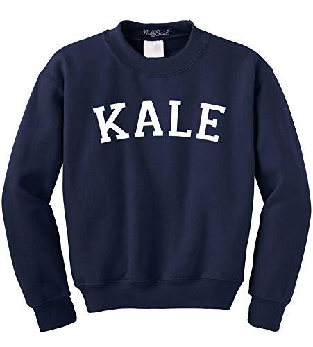 Kale Sweatshirt Crew Neck Sweater Pullover - Premium Quality (Small, Navy Blue)
