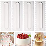 Cake Scraper Cake Decorating Comb Icing Smoother Fondant Spatulas Cake Edge Smoother Cream Scraper Cake Tools Pastry Cutter 8 Design Textures Baking Tools Kitchen Baking Mold DIY Tool Pack of 4