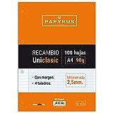 Unipapel Recambio Milimetrado, Hojas de 90 g, con Margen, 4 Taladros, Paper, Multicolor, A4