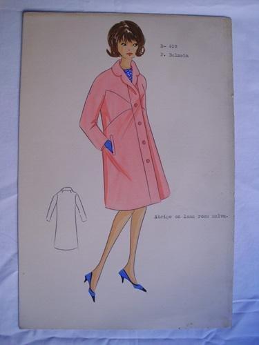 FIGURIN ORIGINAL ACUARELADO - Diseño P.BALMAIN : Abrigo en lana rosa malva