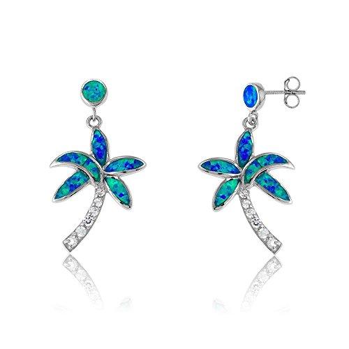Sterling Silver Created Blue Opal & CZ Palm Tree Earrings