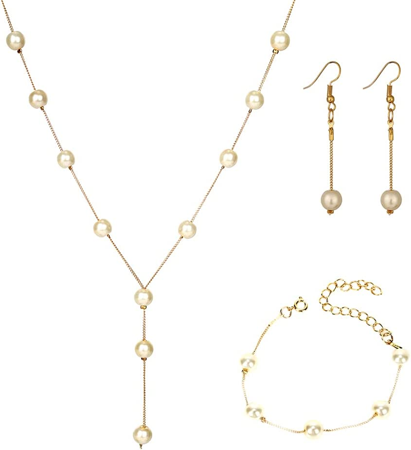 Gold Pearl Jewelry Sets for Women Barque Pearl Chain Necklace Bracelets Earrings for Girls Wedding Party Prom Jewelry Set for Women Girls