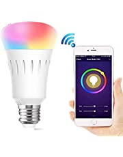 Wifi Control Smart Light Bulb Led Bulb Lights Home Use Bulbs Free App And Voice Control Compatible With Amazon Alexa And Google Assistant, A19 Led, 7 Watts, Dimmable, No Hub Required (Multi-Color)