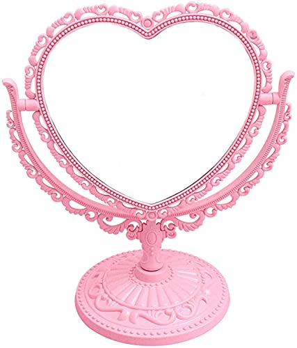 7-Inch 3X Tabletop Vanity Mirror   Double Sided Magnifying Makeup Mirror with 360 Degree Rotation   Bathroom Bedroom Vanity Mirror (Pink, Heart-Shaped)