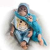 46 / 52cm Monkey Baby Doll con Ropa Verdaderamente Real Body Algodón Suave Vinilo Silicona Baby Monkey Doll (muñeca de 46cm con Pantalones Azul Cielo), Muñeca de Juguete de simulación