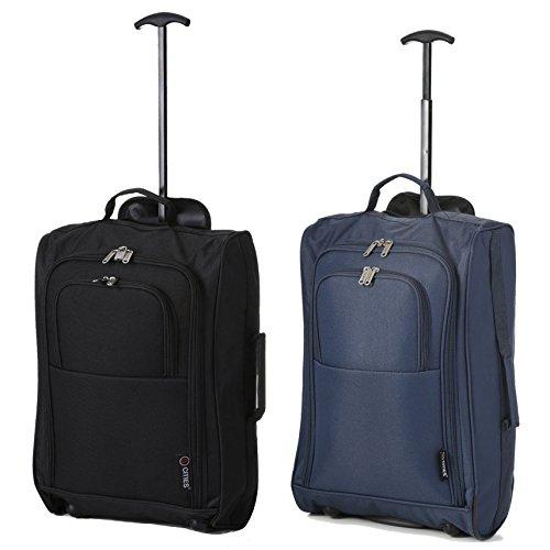 5 Cities Leichter Handgepäck Rollkoffer Gepäck Reisetasche Bordgepäck für Easyjet, Ryanair und viele mehr 55x35x20cm 42L (Schwarz + Marineblau)