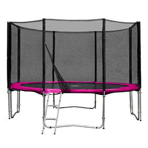 Baunsal GmbH & Co.KG Gartentrampolin Trampolin 366 bis 370 cm in pink mit Sicherheitsnetz und Einstiegsleiter