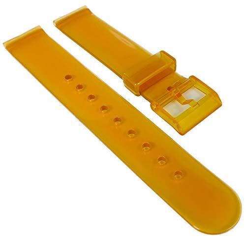 HIRSCH | Uhrenarmband 18mm > Kunststoff, orange > Dornschließe | transparent | 36677