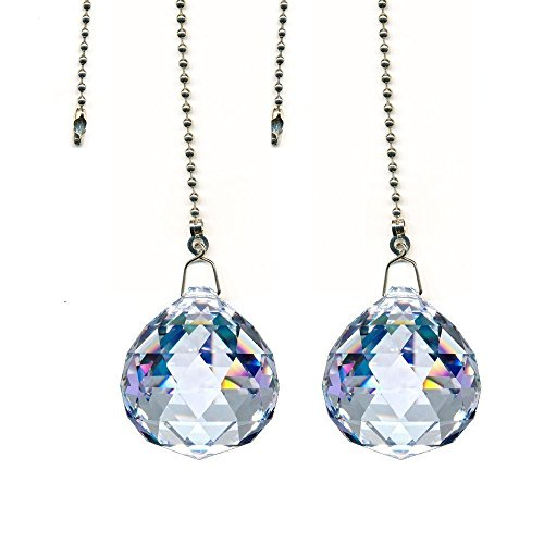 DLD Magnificent Crystal Clear Crystal Ball Prism 2 Pieces Dazzling Crystal Ceiling Fan Pull Chains (20mm)