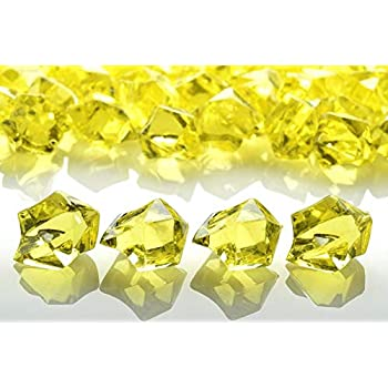 25x Yellow Rectangle Acrylic Gem Rhinestone Embellishment
