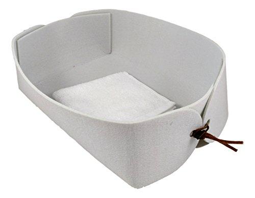 Charming Boxes Silber-Grauer Geschenkkorb/Brotkorb, 25x20x10 cm - Filzkorb, Baumwolltuch & Lederriemchen - Aufbewahrung, lichtgrau