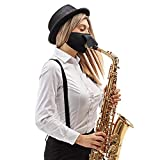 Music Cotton Face_Mask with Hole , Washable and Reusable_Mask For Playing Musical Instruments and Drink Freely,Double-layer
