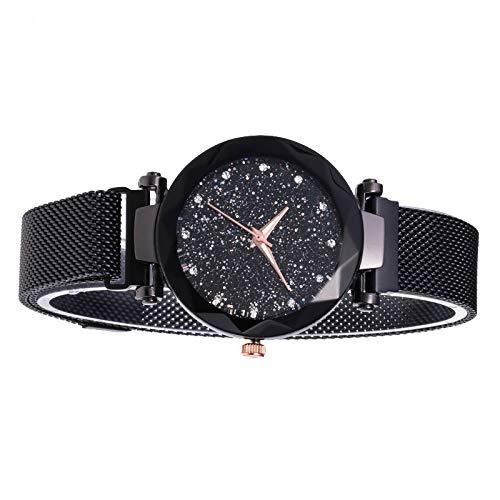 rongweiwang Estrella Dial Casual Reloj de Cuarzo clásico de Estrella Reloj de Las Mujeres de Cuarzo analógico Reloj de Pulsera de Metal con Correa de Acero Inoxidable