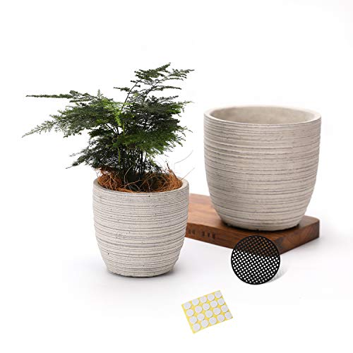 TAMAYKIM 5.25 + 4.25 Inch Vintage Style Cement Planters with Drainage Holes, Hand-Made Unglazed Finished Concrete Flower Plant Pots for Indoor and Outdoor Deco Plant - Grey, Set of 2