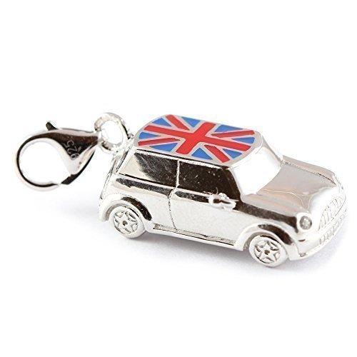 Sterling Silber groß Mini Clip-On-Charm mit Union-Jack-Design auf dem Dach