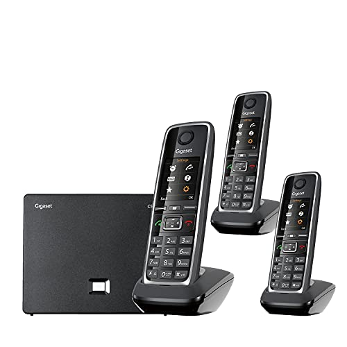 Gigaset C530IP Trio – Portable VoIP Phone with 2 Additional Handsets for Small Businesses or Home, Cordless Telephones with Hybrid Technology and Intercom Function (Black, Pack of 3)