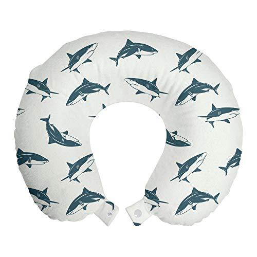 ABAKUHAUS Tiburón Cojín de Viaje para Soporte de Cuello, Submarino Peligroso, Cómoda y Práctica Funda Removible Lavable, 30x30 cm, Cáscara de Huevo Azul de la Pizarra