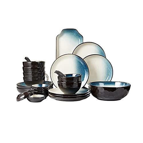 China Juego De Vajillas 28 Piezas, Cocina De La Cena De La Cocina De Porcelana para 6, Conjunto De Vajillas Azules Negras, Platos, Platos, Plato, Cuchara, Salsa