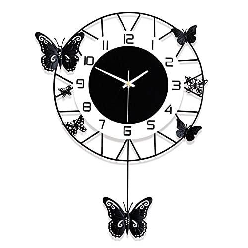 QFNB - Reloj de pared con diseño de mariposa de metal y péndulo, diseño de mariposa negra y silencioso, con números arábigos, para dormitorio, cocina, oficina, sala de estar