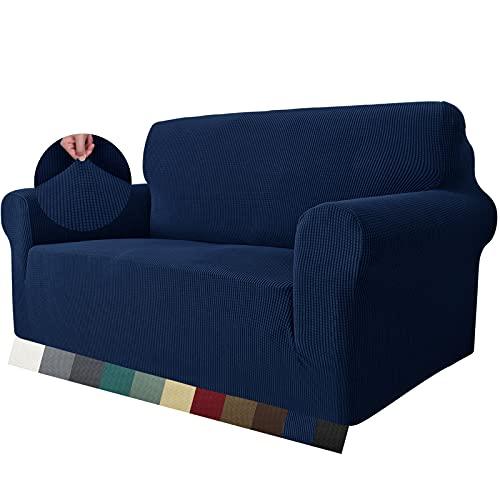 MAXIJIN Super Stretch Couch Bezug für 2-Sitzer Couch, 1-teilige Universal Love Sitzbezüge Jacquard Spandex Sofa Protector Hunde Haustierfreundliche Loveseat Schonbezug (2 Sitzer, Navy Blau)