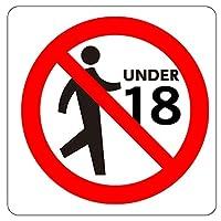 安全・サイン8 受動喫煙予防用 ピクトグラム 「18歳未満の者は立ち入り禁止」ステッカータイプ(裏面粘着) 150×150mm