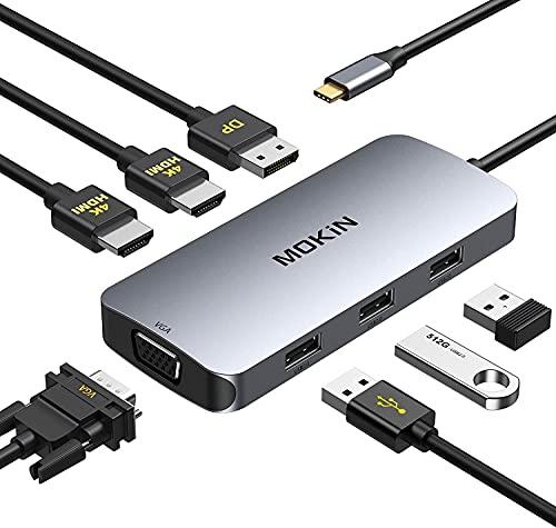 Hub USB C Dual HDMI, USB C Docking Station, Adaptateur Multiport 7 en 1 vers Dual HDMI et VGA, 3 USB Port, DP Port, Docking Station pour Dell XPS 13/15, Lenovo Yoga, Huawei Matebook Tablette Type C
