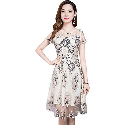 BINGQZ Cocktail Jurken Net garen rok vrouwelijke zomer temperament lange print grote schommel kleine verse jurk