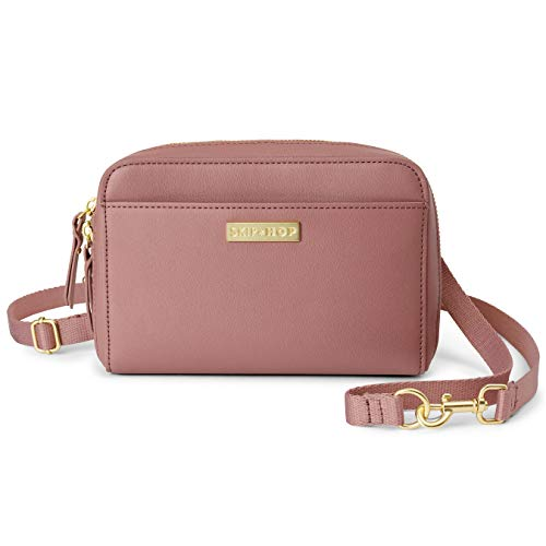 Skip Hop Adjustable Greenwich Easy-Access Convertible Hip Pack, Vegan Leather, Dusty Rose