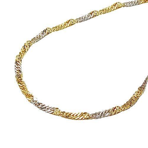 ASS 333 Gold Singapur Kette 45cm 2 mm Singapurkette Bicolor,zweifarbig, diamantiert,Weißgold,Gelbgold