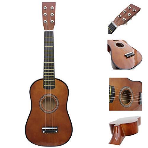 Haunen Holzgitarre, 23 Zoll Kindergitarre mit 6 Saiten Musikinstrument Spielzeug Kinder ab 3 Jahre (Kaffee)