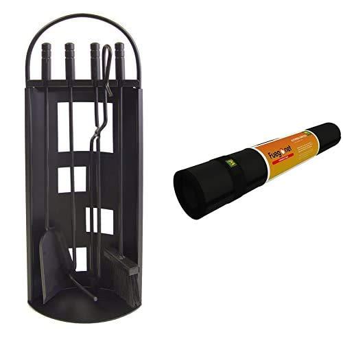 IMEX EL ZORRO 10014 Chapa (68 x 23 x 14 cm) Color Negro + Fuegonet 231437 Alfombra ignifuga, color negro, 100 x 50 cm