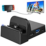 Nintendo Switch TV Dock, Mini Portable Docking Station HDMI 4K TV Adapter Switch Charger Dock Set with Extra USB 3.0 Port (Upgraded System)