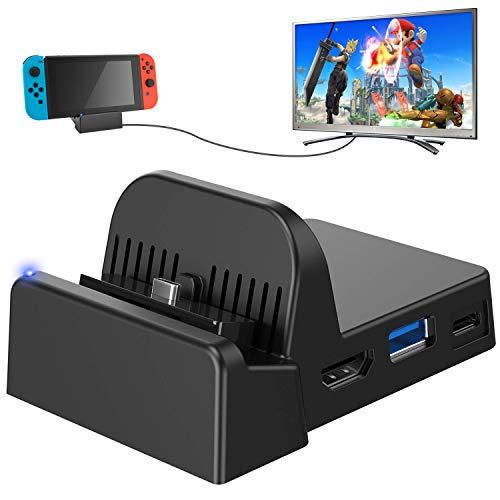 Nintendo Switch TV-Dock, tragbare Mini-Dockingstation HDMI 4K-TV-Adapter Switch-Ladegerät-Dock-Set mit zusätzlichem USB 3.0-Anschluss (aktualisiertes System)