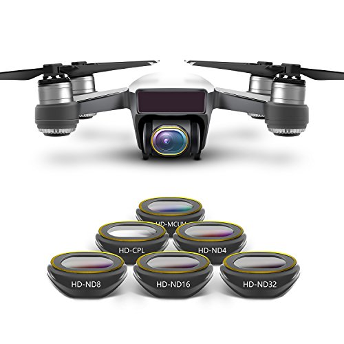 Anbee Spark Camera Lens Filter 6-Pack, Multi-Coated HD UV CPL ND4 ND8 ND16 ND32 Set for DJI Spark Drone
