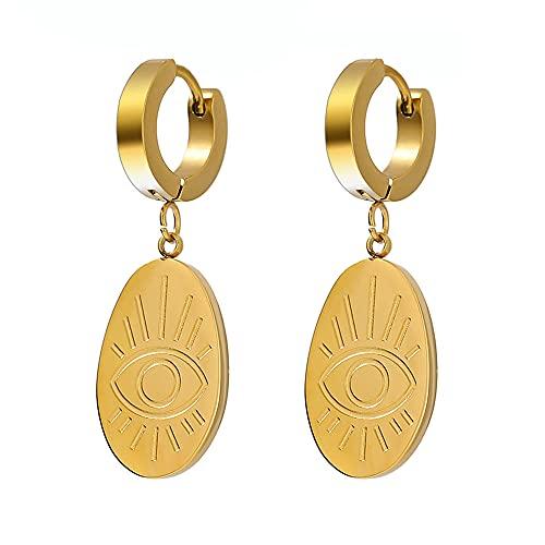 XAOQW Elipse Ojo de Acero Inoxidable Pendientes Chic Gold Metal Hoop Pendientes para Mujer