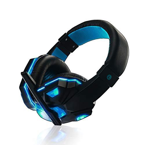 ASYHWZ Auriculares Inteligentes con reducción de Ruido montados en la Cabeza. Auriculares para Juegos con Cable, montados en la Cabeza con micrófono Giratorio de reducción de Ruido y luz LED